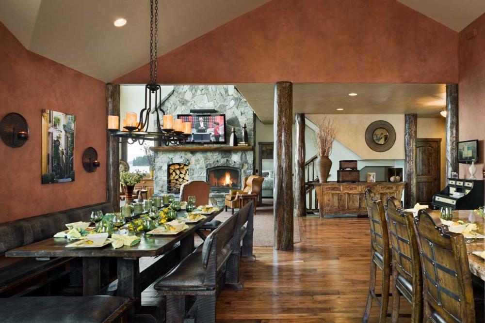 flathead lake retreat kitchen dining fireplace