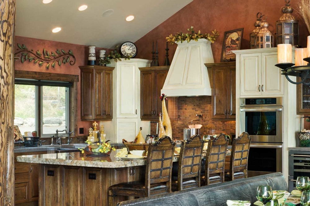flathead lake retreat kitchen island