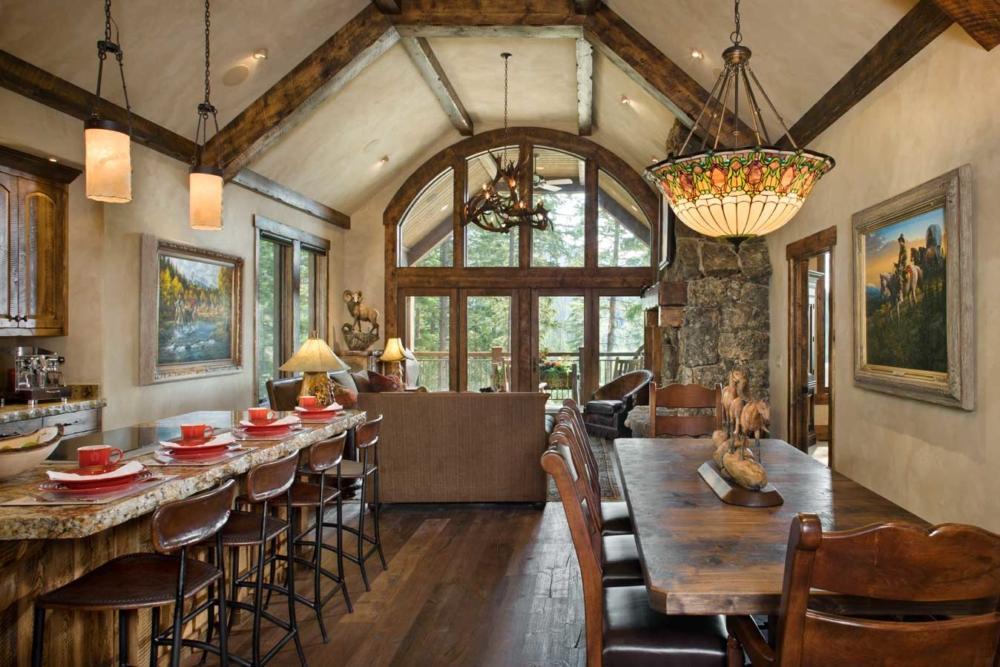 rustic elegance dining kitchen living