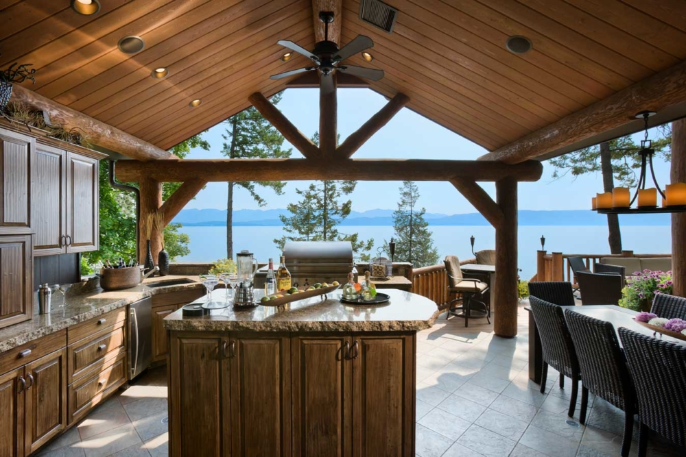 flathead lake retreat outdoor kitchen