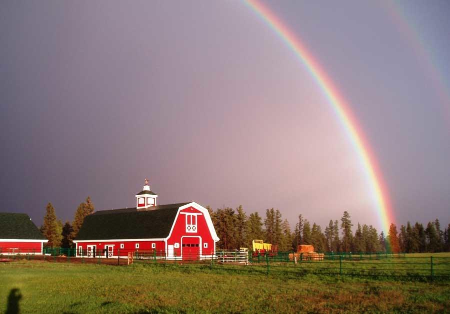 montana dream ranch barn rainbow