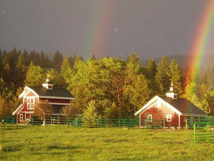 montana dream ranch house barn double rainbow