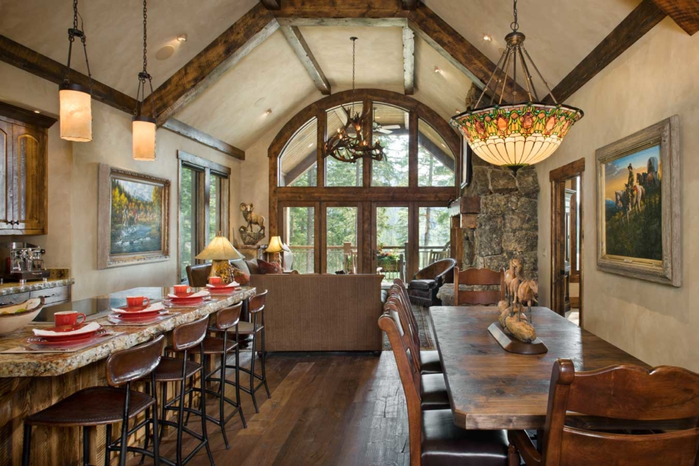 rustic elegance dining kitchen living